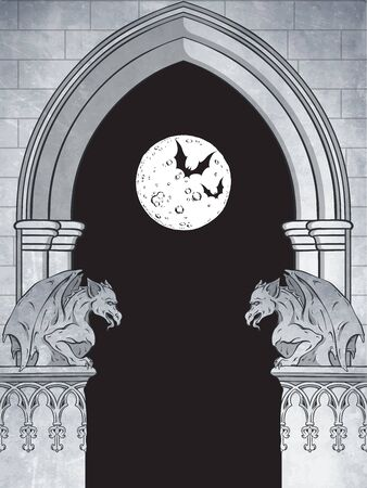 Gothic arch with gargoyles and full moon hand drawn vector illustration. Frame or print design.