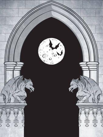 Gothic arch with gargoyles and full moon hand drawn vector illustration. Frame or print design. 版權商用圖片 - 150153082
