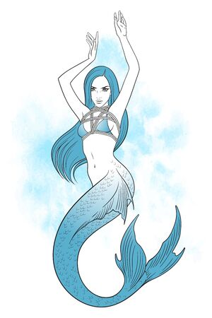 Beautiful mermaid knitted in shibari technique tattoo, sticker or print design vector illustration Vetores