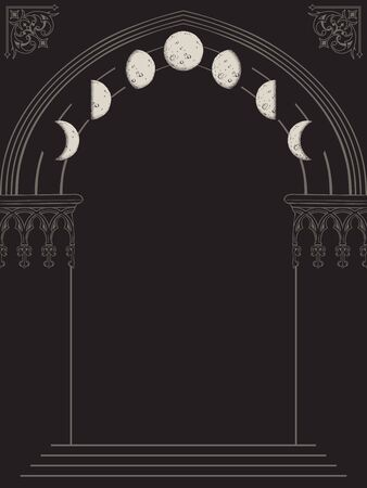 Gothic arch with gargoyles hand drawn vector illustration. Frame or print design.