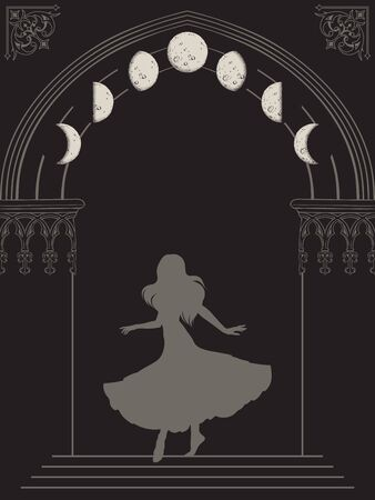 Silhouette of gypsy woman in gothic arch with moon phases hand drawn vector illustration. Frame or print design