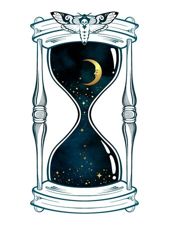Hand drawn line art hourglass with moon and stars isolated boho sticker, print or blackwork tattoo design vector illustration