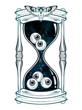 Hourglass with eyeballs halloween sticker, print or blackwork tattoo design hand drawn line art vector illustration Illustration
