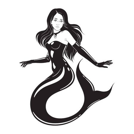 Beautiful mermaid wearing fetish latex suit and collar isolated. Tattoo, sticker or print design vector illustration