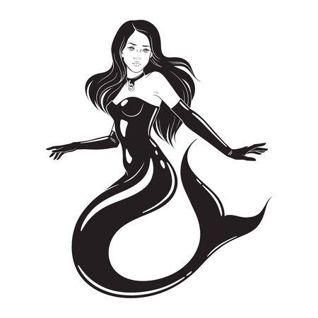 Beautiful mermaid wearing fetish latex suit and collar isolated. Tattoo, sticker or print design vector illustration 版權商用圖片 - 150153085