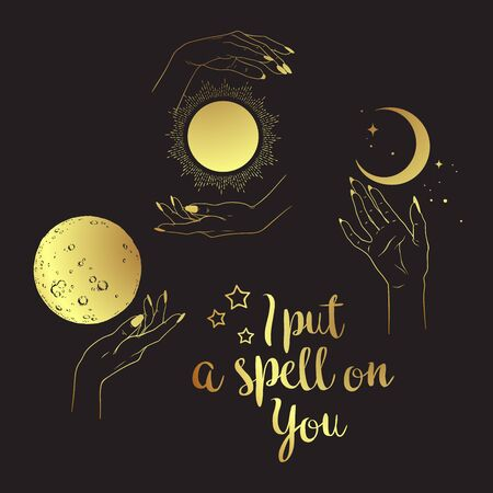 Hand drawn set of gold female witches hands with celestial bodies. Flash tattoo, sticker, patch or print design vector illustration