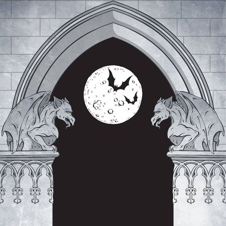 Gothic arch with gargoyles and full moon hand drawn vector illustration. Frame or print design. 免版税图像 - 150153084