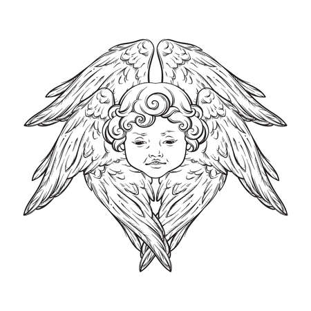 Six winged cherub cute winged curly smiling baby boy angel with rays of linght isolated over white background. Hand drawn design vector illustration.