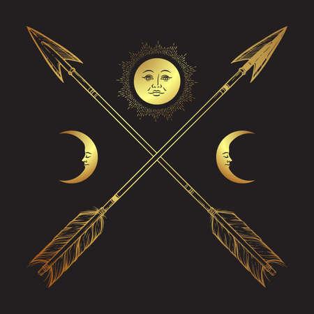 Gold crossed arrows with crescents and full moon line art. Boho sticker, print or blackwork flash tattoo art design vector illustration.
