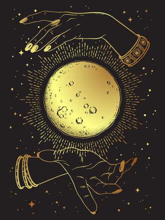 Hand drawn gold full moon with rays of light in hands of fortune teller line art and dot work. Boho chic tattoo, poster or altar veil print design vector illustration Standard-Bild - 159333266