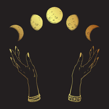 Hand drawn line art and dot work gold moon phases in hands of witch isolated. Boho chic flash tattoo, poster, altar veil or tapestry print design vector illustration Standard-Bild - 159333267