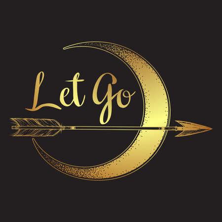 Gold arrow in front of the crescent moon line art and dot work. Boho sticker, print or blackwork flash tattoo art design hand drawn vector illustration Illustration