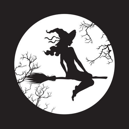 Silhouette of beautiful witch girl on a broom in front of the full moon in profile isolated hand drawn vector illustration. Vektorgrafik
