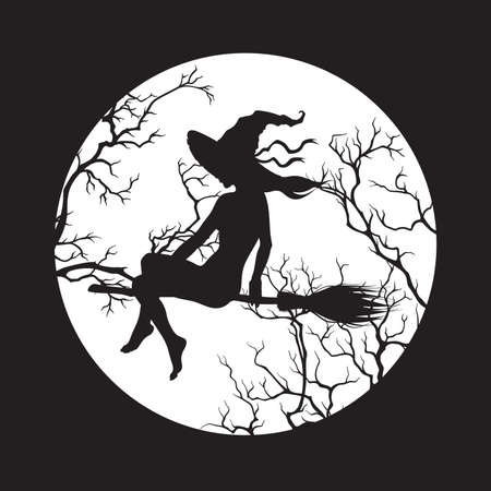 Silhouette of beautiful witch girl on a broom in front of the full moon in profile isolated hand drawn vector illustration.