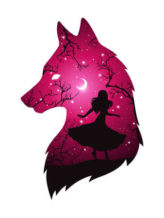 Double exposure silhouette of wolf with shadow of beautiful woman in the night forest, crescent moon and stars. Sticker or tattoo design vector illustration. Pagan totem, wiccan familiar spirit art. Ilustración de vector