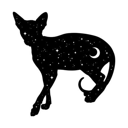 Silhouette of cat with crescent moon and stars isolated. Sticker, print or tattoo design vector illustration. Pagan totem, wiccan familiar spirit art. Illustration