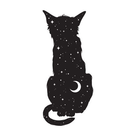 Silhouette of cat with crescent moon and stars isolated. Sticker, print or tattoo design vector illustration. Pagan totem, wiccan familiar spirit art. 向量圖像