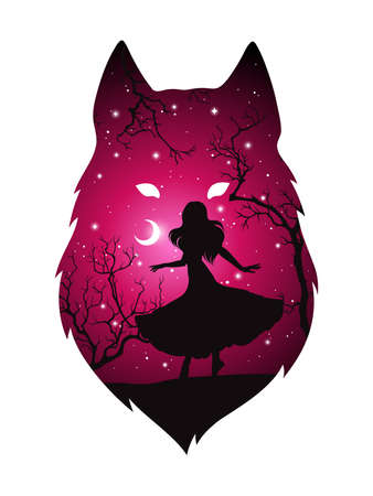 Double exposure silhouette of wolf with shadow of beautiful woman in the night forest, crescent moon and stars. Sticker or tattoo design vector illustration. Pagan totem, wiccan familiar spirit art. Zdjęcie Seryjne - 159333276