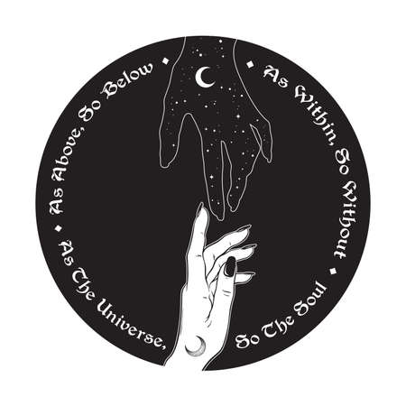 Hand of universe reaching out to human hand. Inscription is a maxim in hermeticism and sacred geometry. As above, so below. Black work, flash tattoo or print design vector illustration. Standard-Bild - 163870714