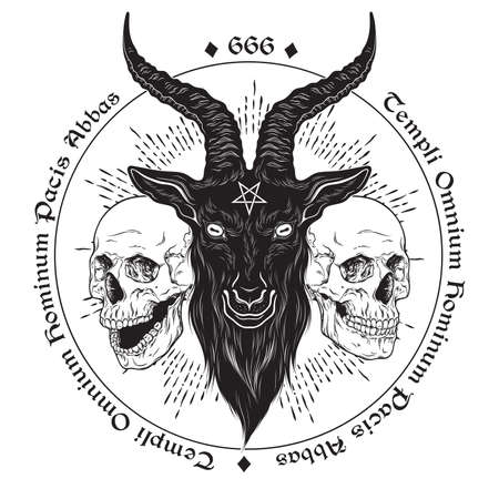 Baphomet demon goat head hand drawn print or blackwork flash tattoo art design vector illustration. Latin inscription translation - father of the temple of peace of all men Illustration
