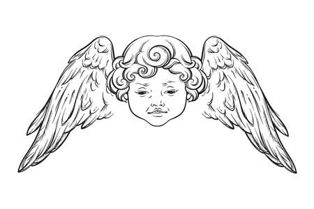 Cherub cute winged curly smiling baby boy angel with rays of linght isolated over white background. Hand drawn design vector illustration.