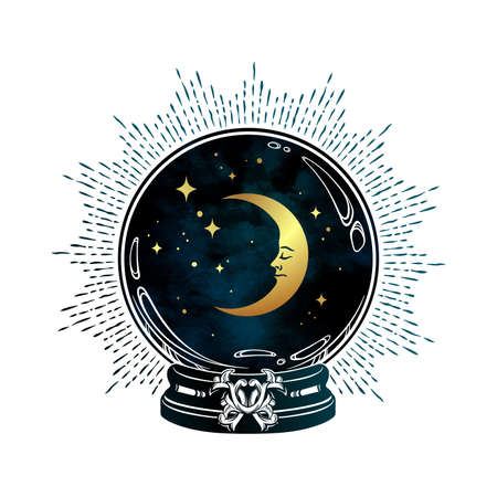Hand drawn magic crystal ball with crescent moon and stars line art and dot work. Boho chic tattoo, poster or altar veil print design vector illustration Иллюстрация