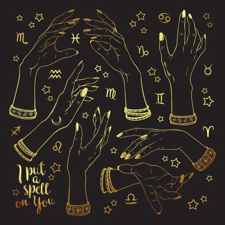 Hand drawn set of gold female witches hands in different poses. Flash tattoo, sticker, patch or print design vector illustration Illustration