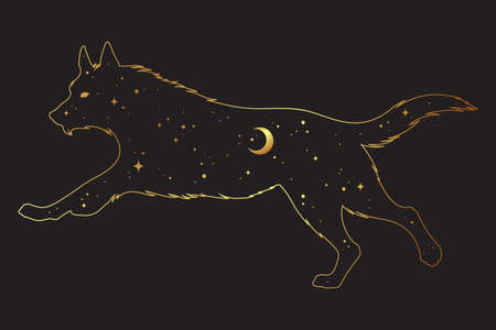 Silhouette of wolf with crescent moon and stars isolated. Sticker, print or tattoo design vector illustration. Pagan totem, wiccan familiar spirit art. Standard-Bild - 165651823