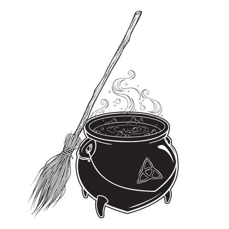 Boiling magic cauldron with broom vector illustration. Hand drawn wiccan design, astrology, alchemy, magic symbol or halloween design. Ilustracja