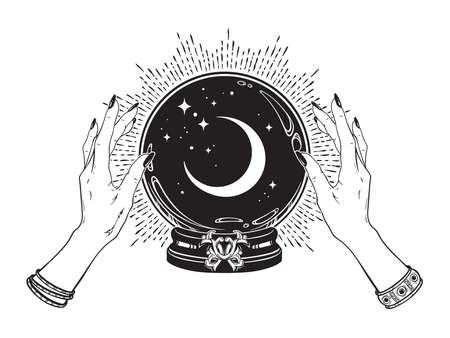 Magic crystal ball with crescent moon and stars in hands of fortune teller line art and dot work. Boho chic tattoo, poster or altar veil print design vector illustration.