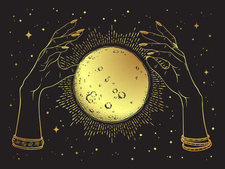 Hand drawn gold full moon with rays of light in hands of fortune teller line art and dot work. Boho chic tattoo, poster or altar veil print design vector illustration