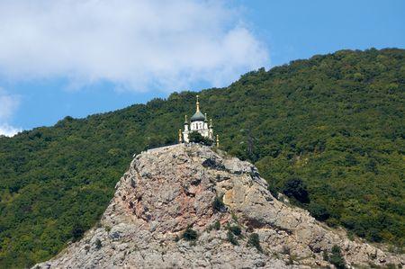 church on rock in foros
