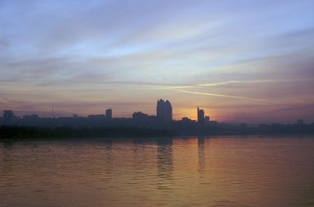 Dnepropetrovsk downtown in fog