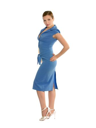 Young woman in blue dress with arms on her side. Stock Photo - 3459453