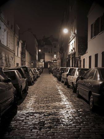 Small night street on Montmartre, Paris.
