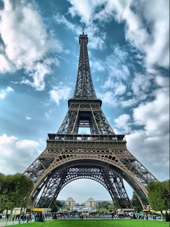 Eiffel tower against a sky background. Stock Photo