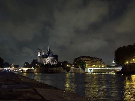 buttresses: Notre Dame de Paris at night around bridges.