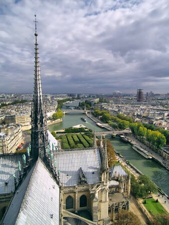 View on steeple of Notre Dame cathedral in Paris.