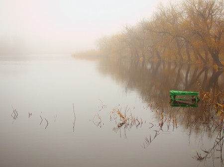 dais: Autumn morning lake in frog with green dais on the water. Stock Photo
