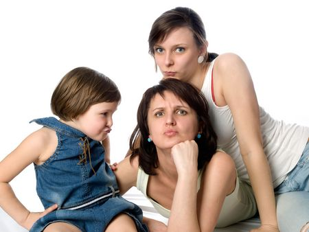 frowned: Joy mother and two daughters play as frowned