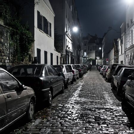 cobbled: Small night street on Montmartre, Paris.