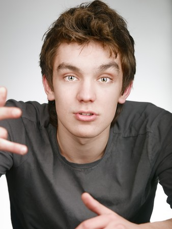 Fullface portraite of argued young man Stock Photo