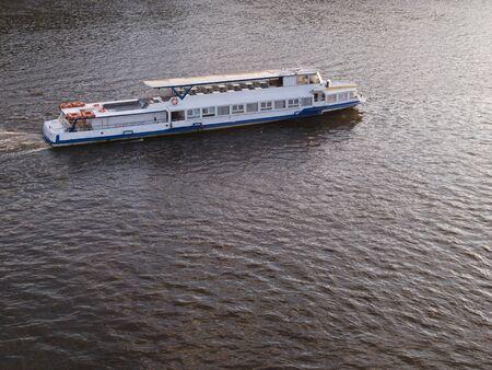 Pleasure boat on a river Stock Photo