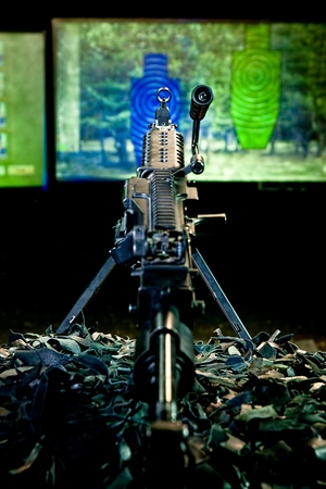 machine-gun: machinegun against a shooting mark