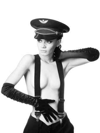 jailer: provocative cop Stock Photo