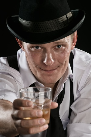 smiling gangster.send-off the the prohibition Stock Photo
