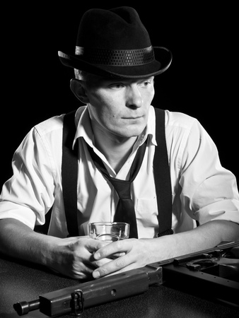 thoughtful man like a chicago gangster Stock Photo