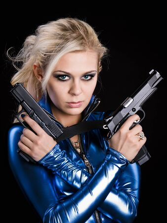 martial young lady with two guns