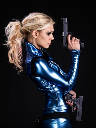 latex: martial young lady with two guns