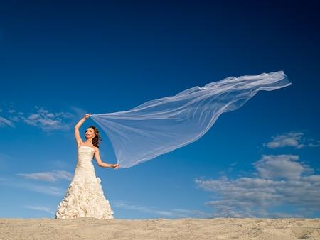 bridal veil: beautiful bride